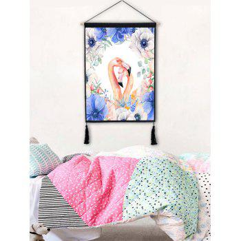 Wall Art The Flamingos in the Flowers Print Tassel Hanging Painting - multicolor A 1PC:18*26 INCH(NO FRAME)