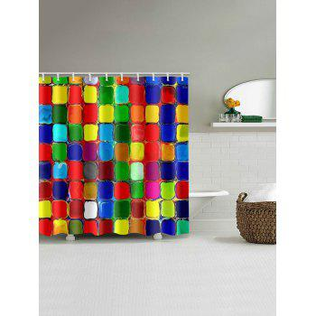 Color Blocks Waterproof Shower Curtain - multicolor W65 INCH * L71 INCH