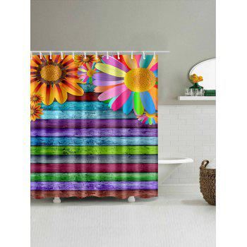 Sunflowers Colorful Wooden Board Print Bathroom Shower Curtain - multicolor W71 INCH * L79 INCH
