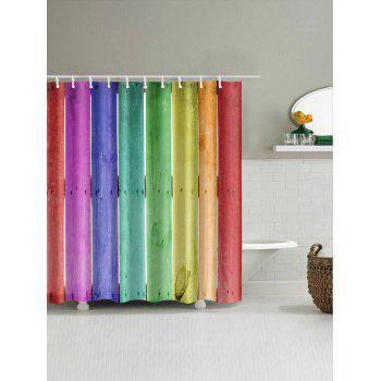 Colorful Wood Board Print Bathroom Shower Curtain - multicolor W65 INCH * L71 INCH