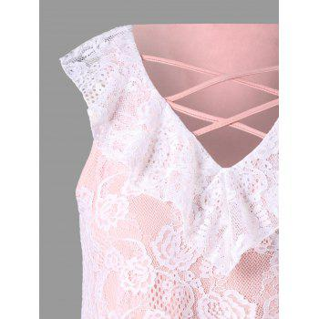 Plus Size Ruffled Lace Asymmetrical Tank Top - COLORMIX XL