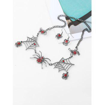 Rhinestoned Spider Web Necklace and Earring Set - SILVER