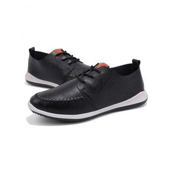 Artificail Leather Stitch Toe Casual Shoes - BLACK 39