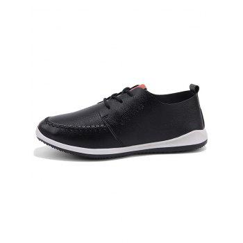 Artificail Leather Stitch Toe Casual Shoes - BLACK 40