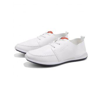 Artificail Leather Stitch Toe Casual Shoes - WHITE 43
