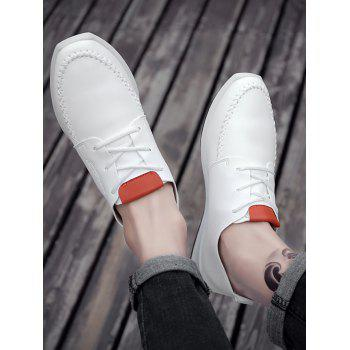 Artificail Leather Stitch Toe Casual Shoes - WHITE 41