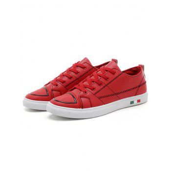 Stitch Detail Lace Up Skate Shoes - RED 43