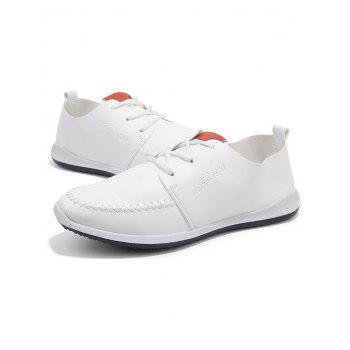 Artificail Leather Stitch Toe Casual Shoes - WHITE 40
