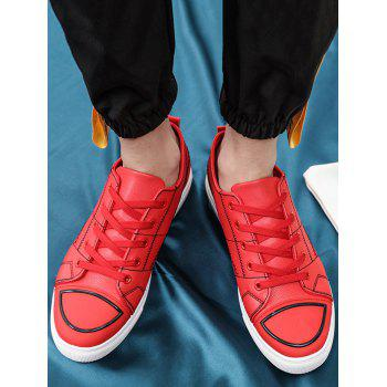 Stitch Detail Lace Up Skate Shoes - RED 44