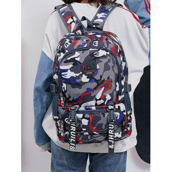Color Block Large Capacity Travel Backpack - RED