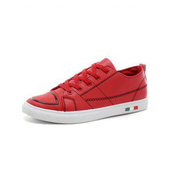 Stitch Detail Lace Up Skate Shoes - RED 39