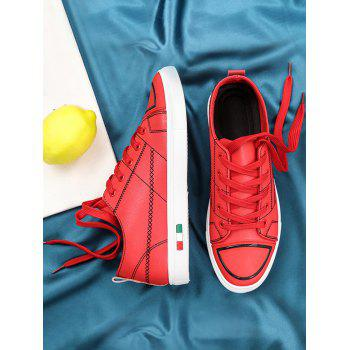 Stitch Detail Lace Up Skate Shoes - RED 40