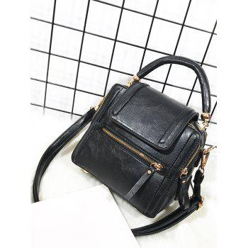 PU Leather Zipper Closure Shoulder Bag - BLACK