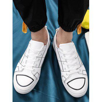 Stitch Detail Lace Up Skate Shoes - WHITE 41
