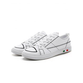 Stitch Detail Lace Up Skate Shoes - WHITE 39