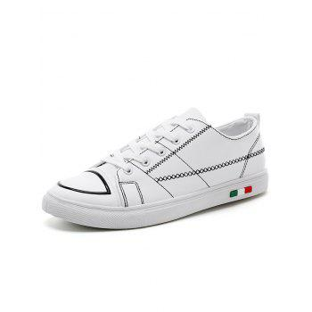 Stitch Detail Lace Up Skate Shoes - WHITE 40