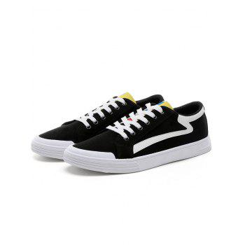 Contrasting Canvas Skate Shoes - BLACK 42