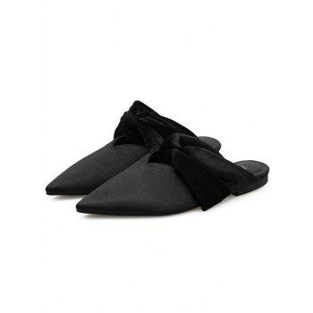 Twist Upper Satin Slide Flats - BLACK 39