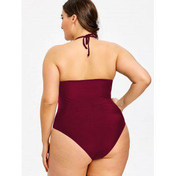 Plus Size See Through One Piece Swimwear - WINE RED XL