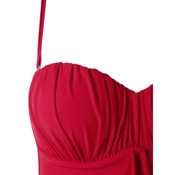 Ruched Padded Bandeau One Piece Swimsuit - RED M