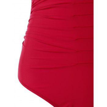 Ruched Padded Bandeau One Piece Swimsuit - RED L