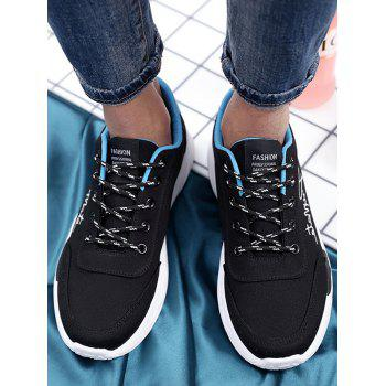 Lace Up Embroidered Sneakers - BLACK 39