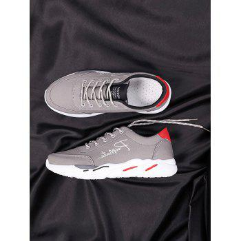 Lace Up Embroidered Sneakers - GRAY 43