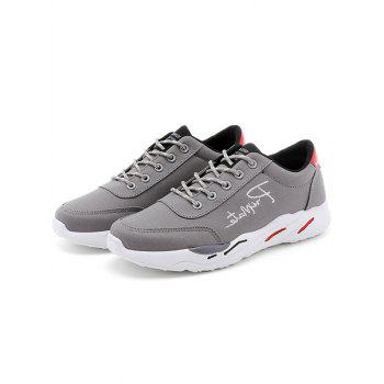 Lace Up Embroidered Sneakers - GRAY 44