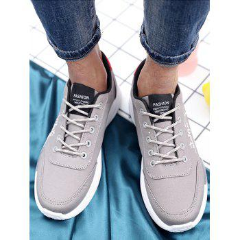 Lace Up Embroidered Sneakers - GRAY 41