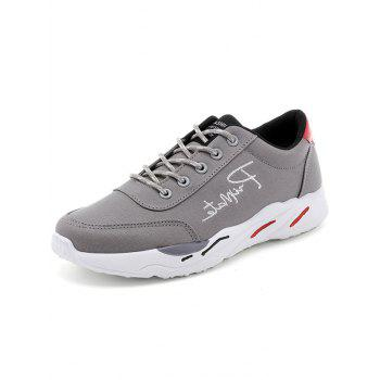 Lace Up Embroidered Sneakers - GRAY 40