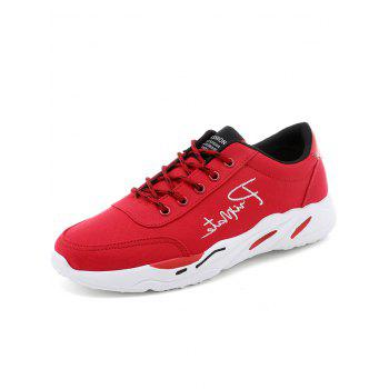 Lace Up Embroidered Sneakers - RED 44