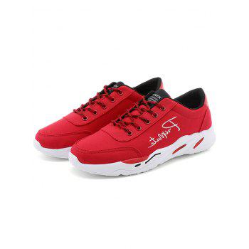 Lace Up Embroidered Sneakers - RED 39