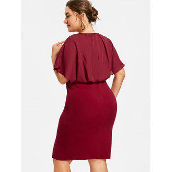 Plus Size Slit Blouson Party Dress - WINE RED 4XL