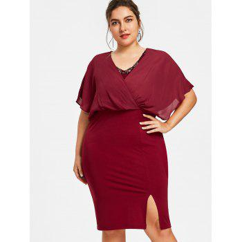Plus Size Slit Blouson Party Dress - WINE RED 5XL