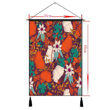 Wall Art Blooming Flowers Printed Hanging Painting Tassel Decor - multicolor 1PC:18*26 INCH(NO FRAME)