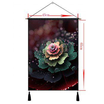 Flower with Morning Dew Printed Tassel Wall Decor Hanging Painting - CAMOUFLAGE GREEN 1PC:18*26 INCH(NO FRAME)