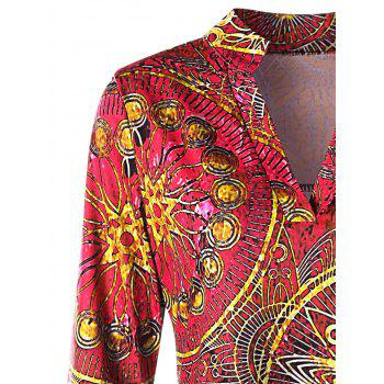 Plus Size Asymmetrical Ethnic Print Tee - ROSE RED 3XL