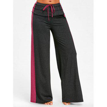 Contrast Color Wide Leg Pants - DARK SLATE GREY M