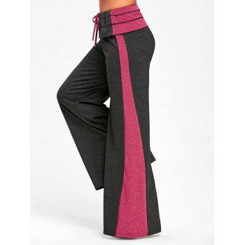 Contrast Color Wide Leg Pants - DARK SLATE GREY XL