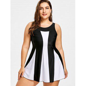 Plus Size Color Block Skirted Tankini Swimsuit - multicolor 5XL