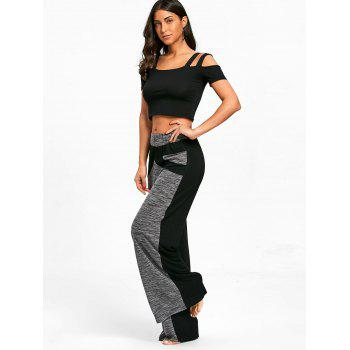 Color Block High Waisted Wide Legged Pants - GRAY L
