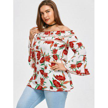 Plus Size Off Shoulder Floral Blouse - COLORMIX XL