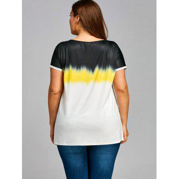 Plus Size Short Sleeve Gradient T-shirt - COLORMIX 2XL