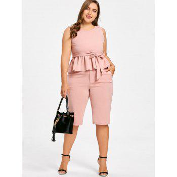Plus Size Sleeveless Peplum Top with Straight Shorts - LIGHT PINK XL