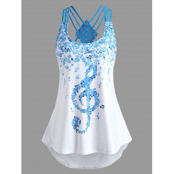 Musical Notes Printed Asymmetrical Tank Top