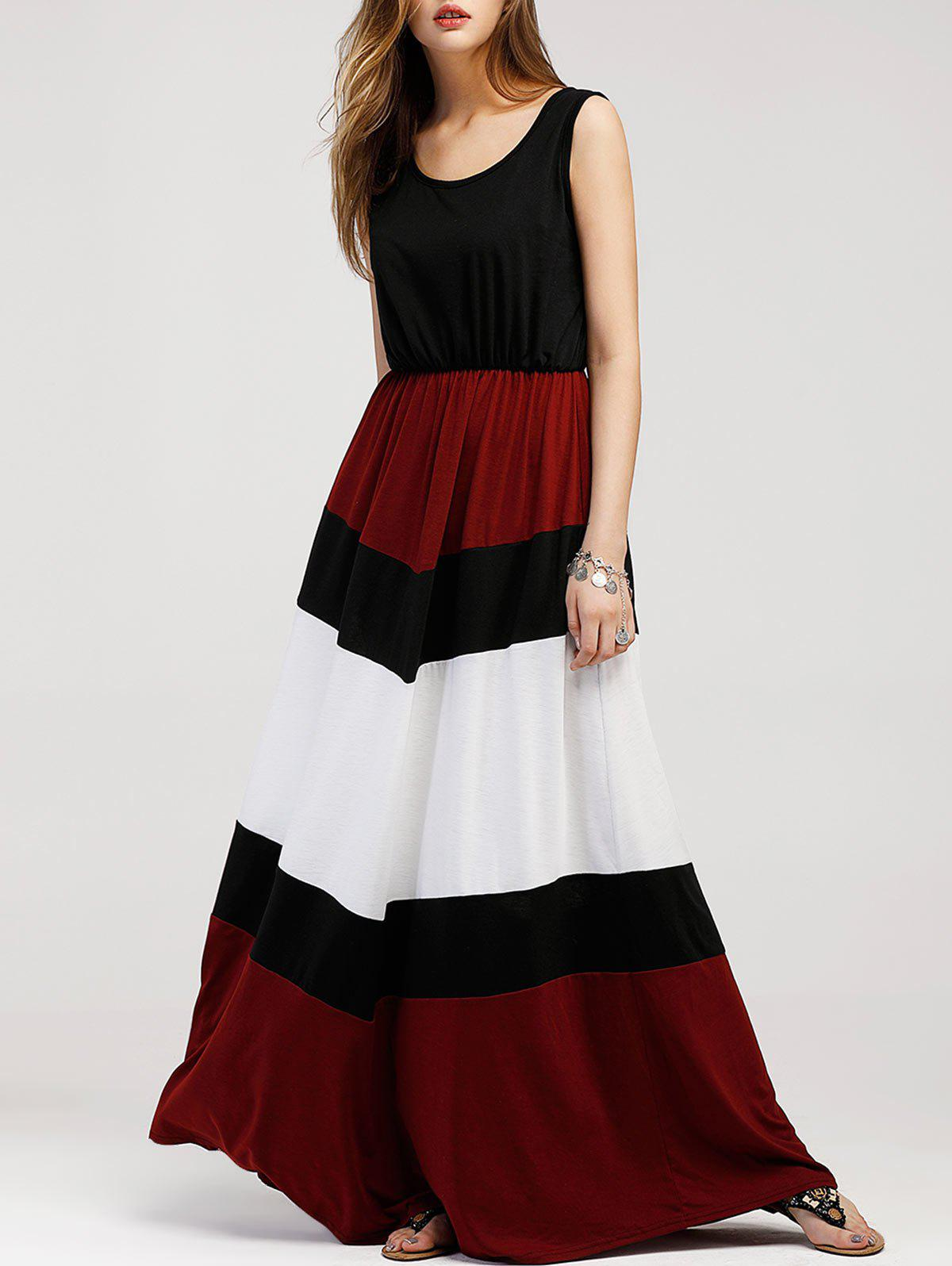 Color Block Sleeveless Maxi Dress - BLACK L