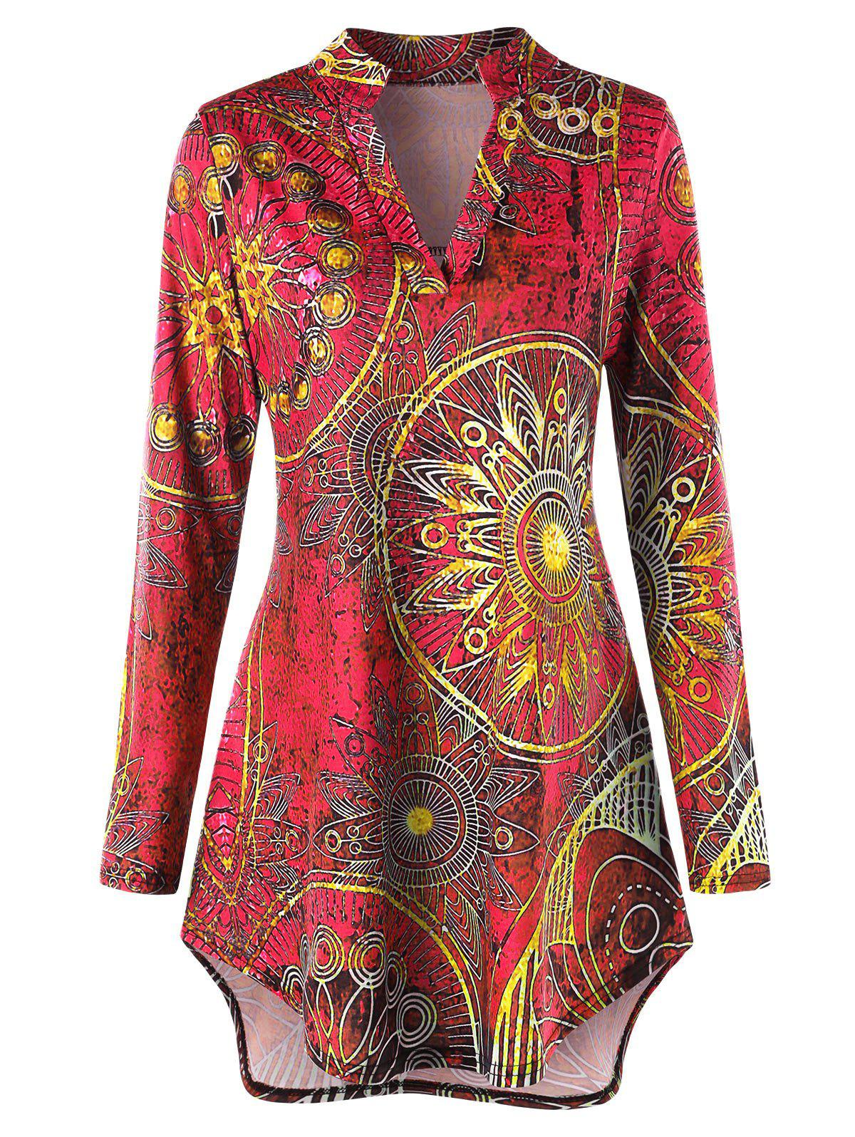 Plus Size Asymmetrical Ethnic Print Tee - ROSE RED XL