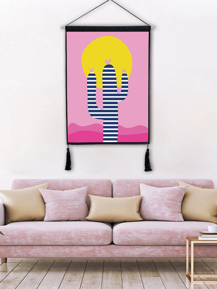Cartoon Cactus Print Tassel Hanging Picture - LIGHT PINK 1PC:18*26 INCH(NO FRAME)