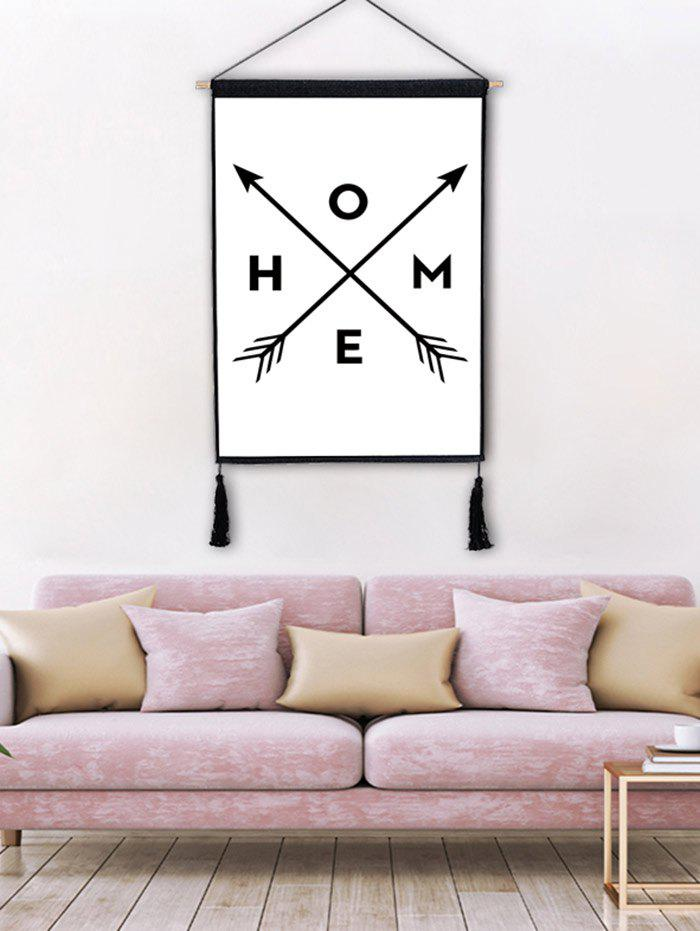 Crossing Arrows Home Letters Printed Tassel Hanging Wall Painting - BLACK 1PC:18*26 INCH(NO FRAME)