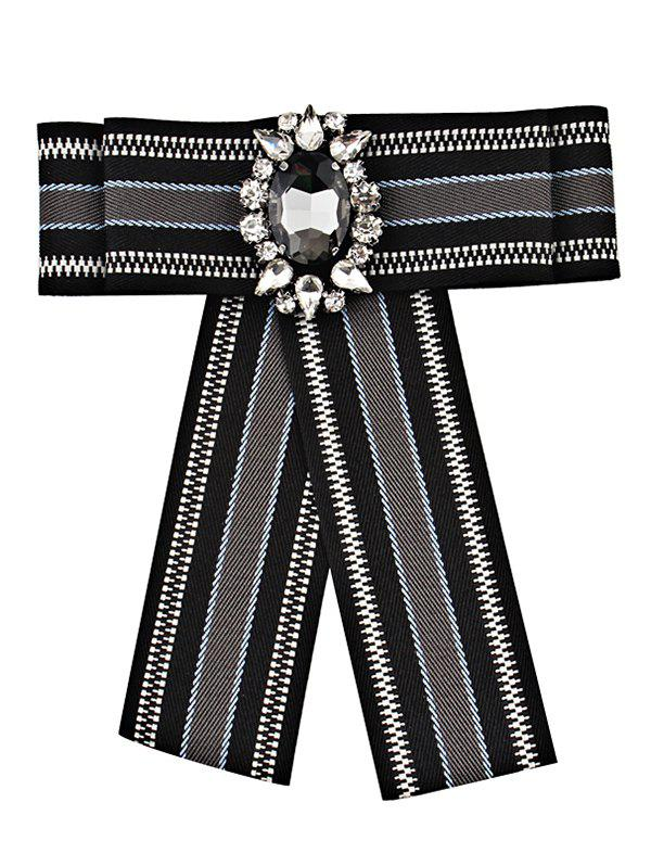 Striped Pattern Artificial Gem Bowknot Brooch - BLACK